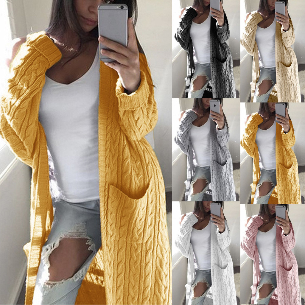 Sweater Women Coat Women кофта женская Winter Solid Long Sleeve Casual Loose Knitted Long Sweater Jumper Coat Free Ship Z4