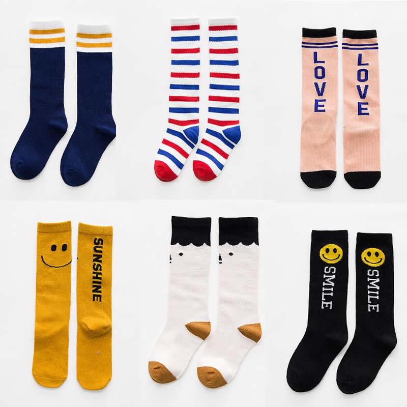1 Pari Spring Baby Knee Socks For Girls Boys Stripe Cartoon Kids Knee Socks Cotton Soft Elastic Toddler Warm Knee High Sock