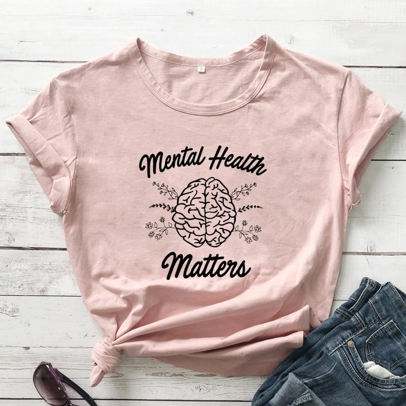 Questões de Saúde Mental T-shirt Boho Mulheres Terapeuta Motivacional Vibrações Positivas Tshirt Engraçado Graphic Tees Tops Dropshipping