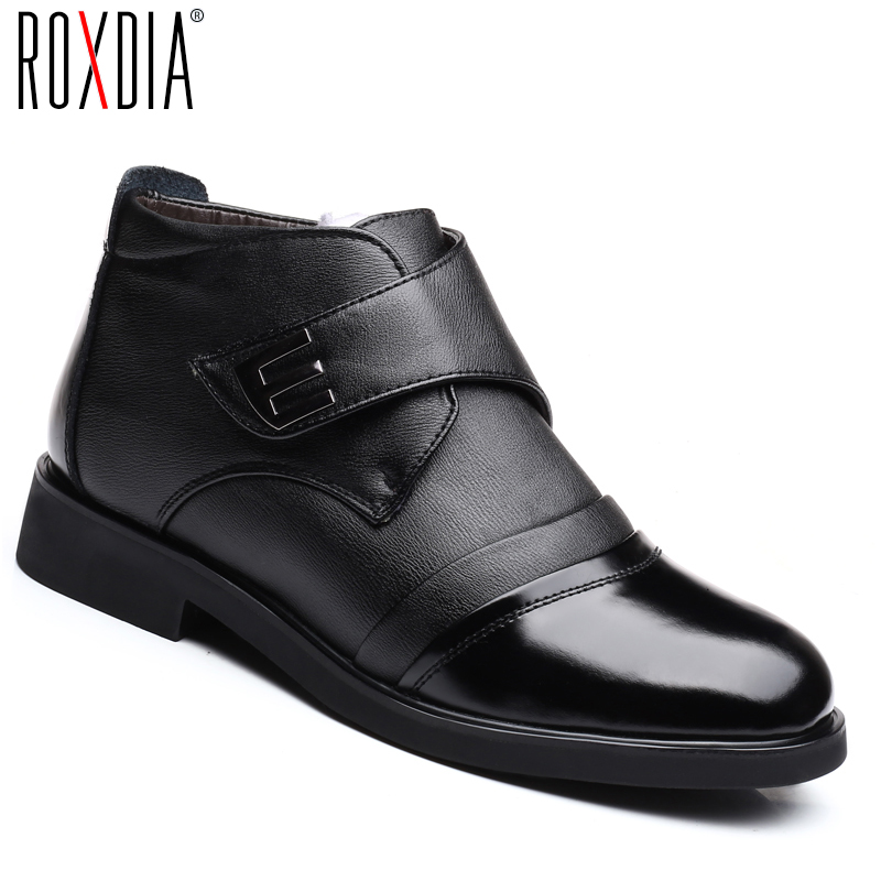 ROXDIA Brand Plus Size 39-46 Genuine Leather Men Boots Winter Snow Work Shoes Male Sheep And Cotton Fur Man Ankle Boots RXM149