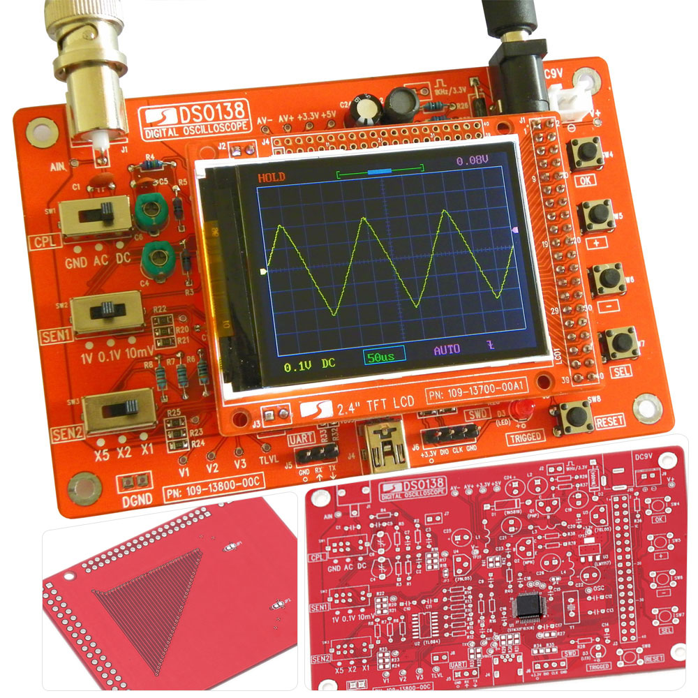 Free Shipping Digital Oscilloscope DIY Kit DIY Parts Electrical Digital Oscilloscope Pocket-size Handheld Electronic 1Msps
