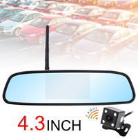 4,3 zoll Wireless Backup Kamera Auto Rückansicht Kamera TFT LCD Fahrzeug Rückspiegel Monitor Wasserdichte Nachtsicht Kamera