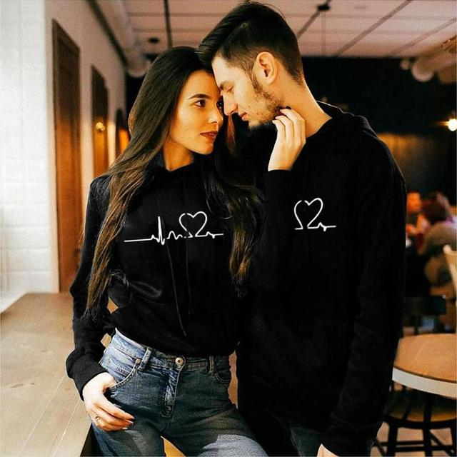 Valentine's Day Hoodies For Couples Autumn Spring Harajuku Heart Print Long Sleeve Hooded Sweatshirt Casual Pullover Tops Women 2