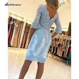 Image 2 - אלגנטי חרוזים נדן תחרת אמא של הכלה שמלות V צוואר ארוך שרוולים Appliqued ערב שמלות בתוספת גודל חתונת אורחים שמלה