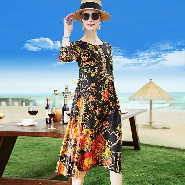 Female Silk Loose 2021 Summer Vintage Floral Print O-neck Casual Elegant Women Dress Plus Size M-4XL Ladies Clothing Vestidos 1
