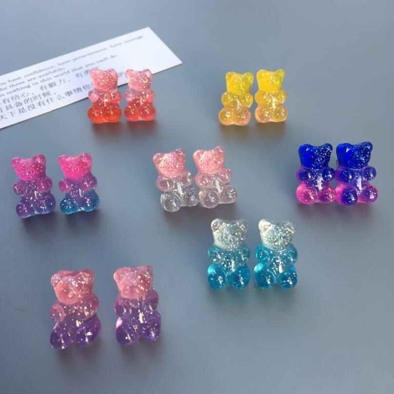 2020 New Handmade Resin Cute Cartoon Gummy Bear Stud Earrings For Women Girl Best Gift Creative Transparent Color Candy Earrings