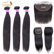 JSDShine Brazilian Hair Weave Bundles With 5x5 6x6 Closure Straight Human Hair Bundles With 13x6 Frontal Remy Hair Extension(China)