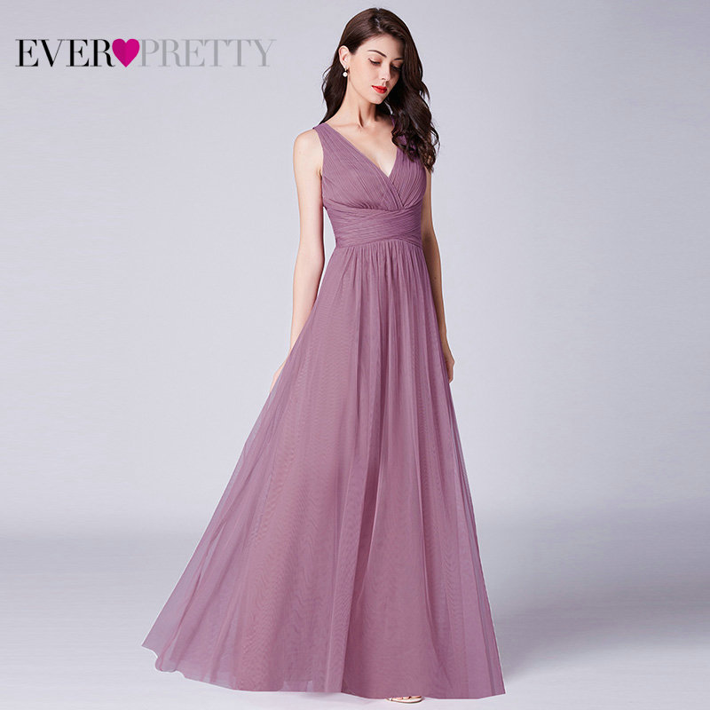 New Bridesmaids Dresses 2019 Ever Pretty EP07526OD Elegant A Line V Neck Long Tulle Pleated Wedding Party Gowns Robe Mousseline