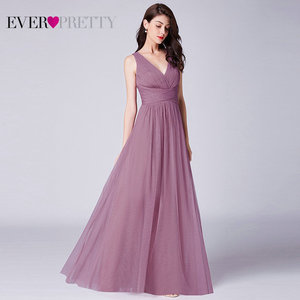 Image 4 - New Bridesmaids Dresses 2020 Ever Pretty EP07526OD Elegant A Line V Neck Long Tulle Pleated Wedding Party Gowns Robe Mousseline