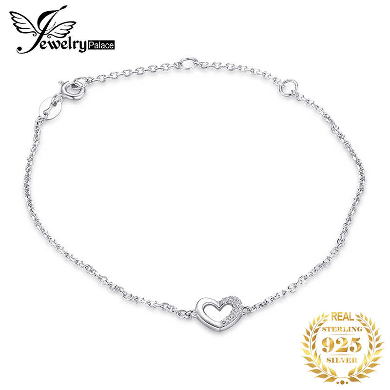 JewerlyPalace Heart Love Bracelet CZ 925 Sterling Silver Chain Bangles Bracelets For Women Silver 925 Jewelry Making Organizer