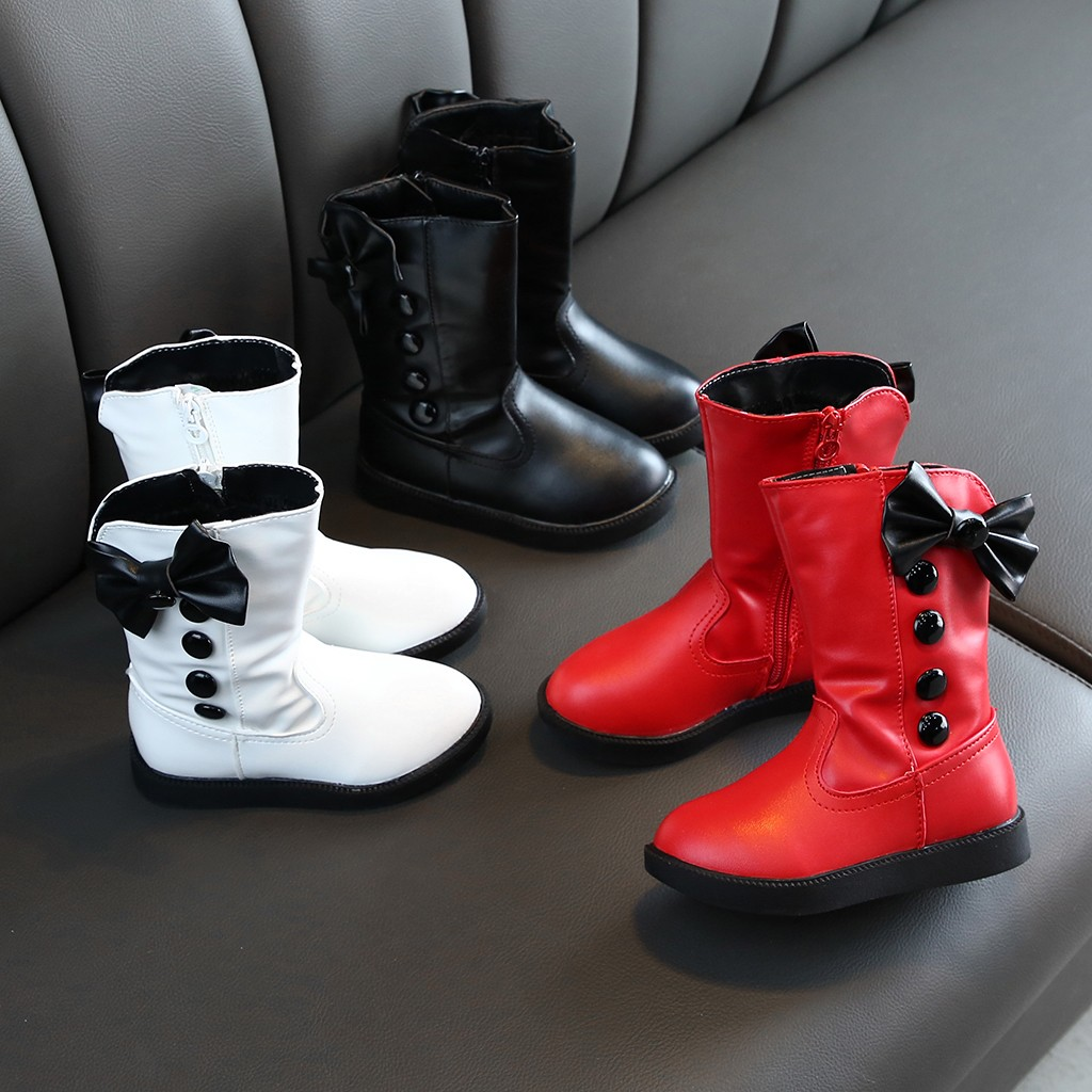 Winter Children Kids Baby Girls Booties Bowknot Warm Middle Boots Princess Shoes