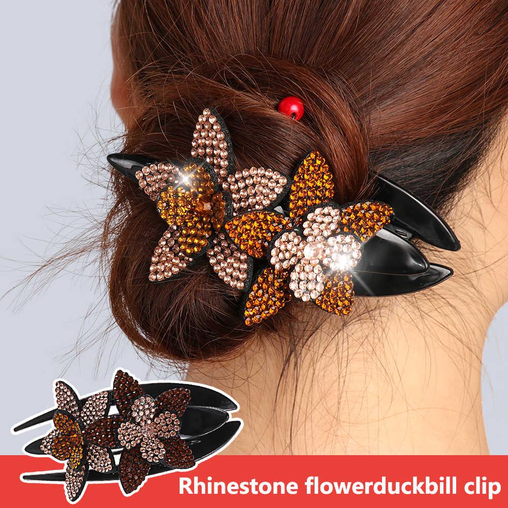 Beauty Crystal Hair Clips Flower Hair Barrette Hairpin Ladies Hair Accessories