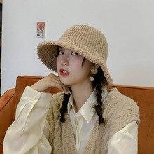 Winter Kitted Wool Fisherman Hat men and women street travel hat Bucket caps Women Men Hats Keep Warm