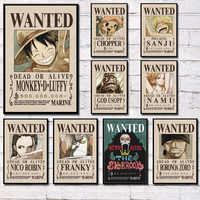 One Piece Luffy Wanted Poster Classic Japan Anime Fighting Hot Art Painting Silk Canvas Poster Wall Home Decor картины на стену
