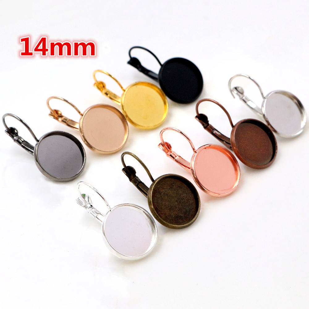 14mm 10pcs 9 Colors Plated French Lever Back Earrings Blank/Base,Fit 14mm Glass Cabochons,Buttons;Earring Bezels