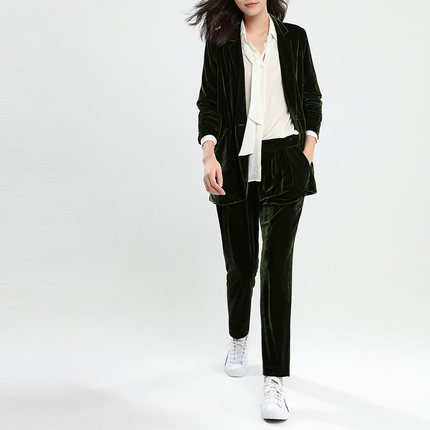 Women Blazer Spring Jackets New Atumn Golden Velvet Female Suit High Quality Single Button Blazer Mujer Tops LX1409
