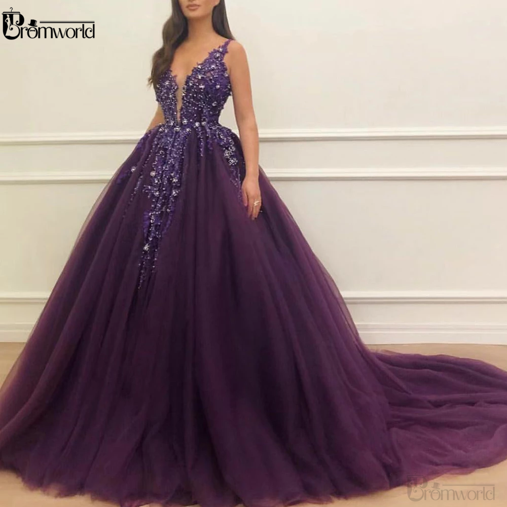 Deep Purple Sleeveless Crystals Beaded Ball Gown Prom Dresses 2020  Vestidos De Gala Deep V Neck  Prom Gown Long