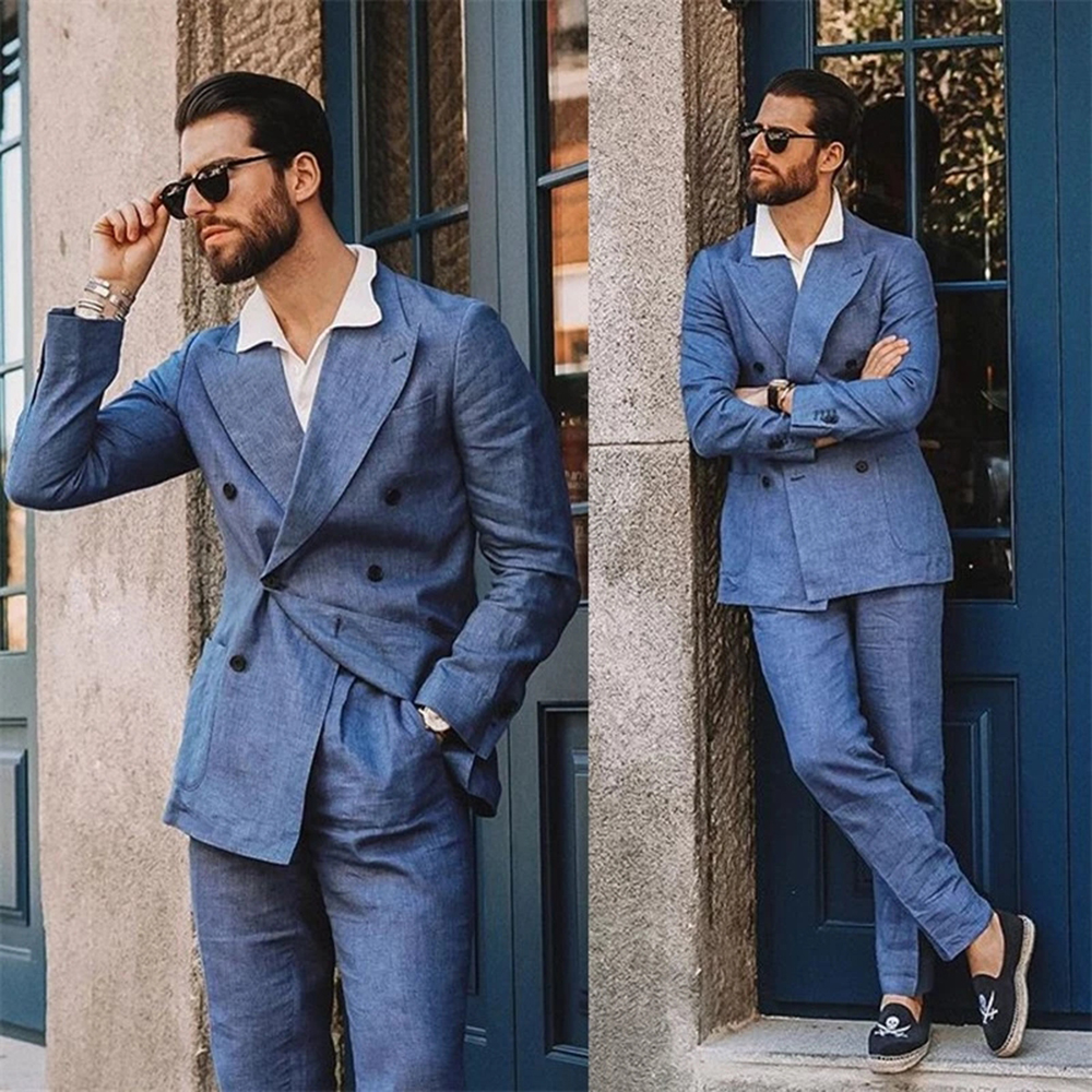 YIWUMENSA  2-Pieces Blue Linen Peaked Lapel Men Suits For Wedding Custom Made Double Breasted Jacket With Pants Slim Fit Coat