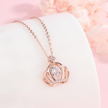 Exquisite S925 Silver Rose Gold Crystal  Crown Pendant Necklace For Women Fashion Temperament Personality Necklace Jewelry недорого