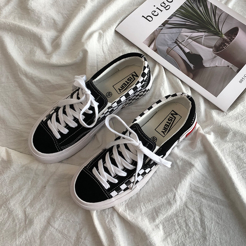 2020 Spring Women Sneakers Arrivals Fashion Lace-up Black Women Shoes Solid Sewing Shallow Casual Canvas Lattice Shoes