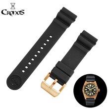 Cronos bracelet en caoutchouc fluoré imperméable noir sans insertion 22mm boucle de langue brossée pour thon San Martin SN003