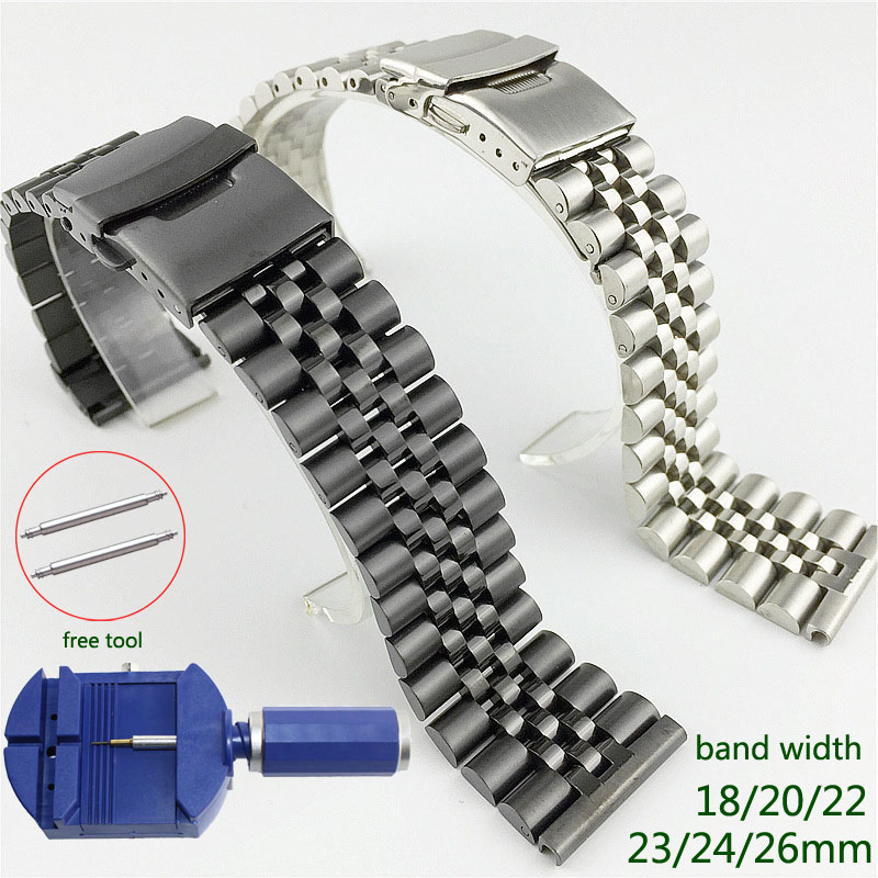 Stainless Steel Watch Band 18mm 20mm 22mm 23mm 24mm 26mm Watch Strap Silk Glossy Watchband Double Buckle Replacement Bracelet