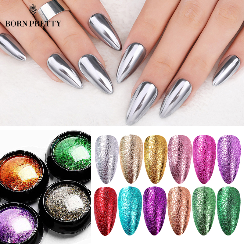 Mirror Nail Art Pigment Powder Nail Glitters Metallic Color Nail Art UV Gel Polishing Rose Gold Silver Decoration