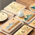 1PC Bambus Tee Tablett Entwässerung Wasser Lagerung Kung Fu Set Zimmer Bord Tabelle Chinesische Pu 'er tee Tasse Zeremonie toolsContracted