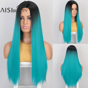 Image 2 - AISIBEAUTY Synthetic Womens Wig Omber Blonde Long Straight Wig High Temperature Fiber Natural  Hair for African American Women