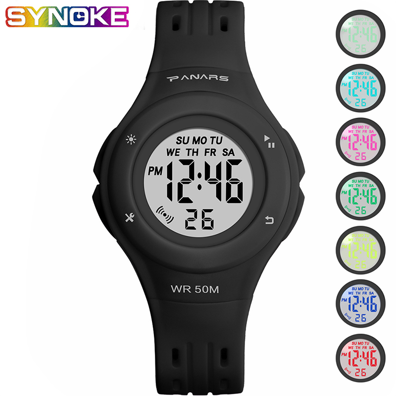 PANARS Sports Children Kid Digital Watches Black Waterproof Multi Function Luminous Wrist Watches Plastic Shock Resistant Clock