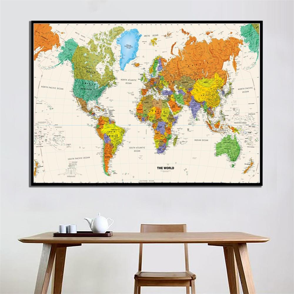 A2 Size The World Map 2010 Version Physical Map HD Printed Fine Canvas Painting Unframed Home Decor Crafts Wall Map