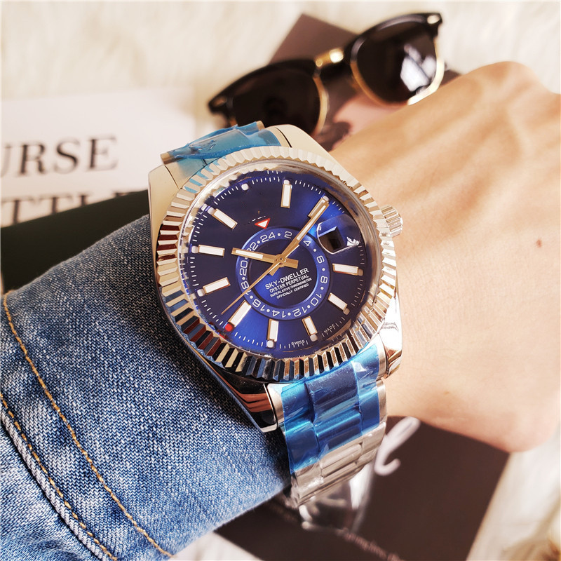 New Mens Automatic Mechanical Calendar 42mm Watch Stainless Steel Sky-Dweller GMT Mens Luminous Business Waterproof 30M Watch