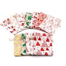 Sacos de Algodão de Linho Natal 10 pçs/lote 5x14 13x18cm Musselina Doces Presentes Embalagem Jóias Sacos Do Presente Com Cordão Bag & Bolsas