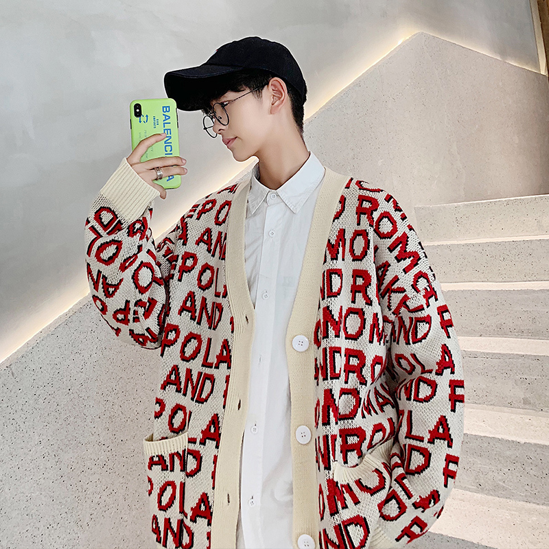 New Autumn/winter 2019 Slimming Cardigan Patchwork Sweater Jacket Loose Casual Round Collar Personality Youth Men's Wear