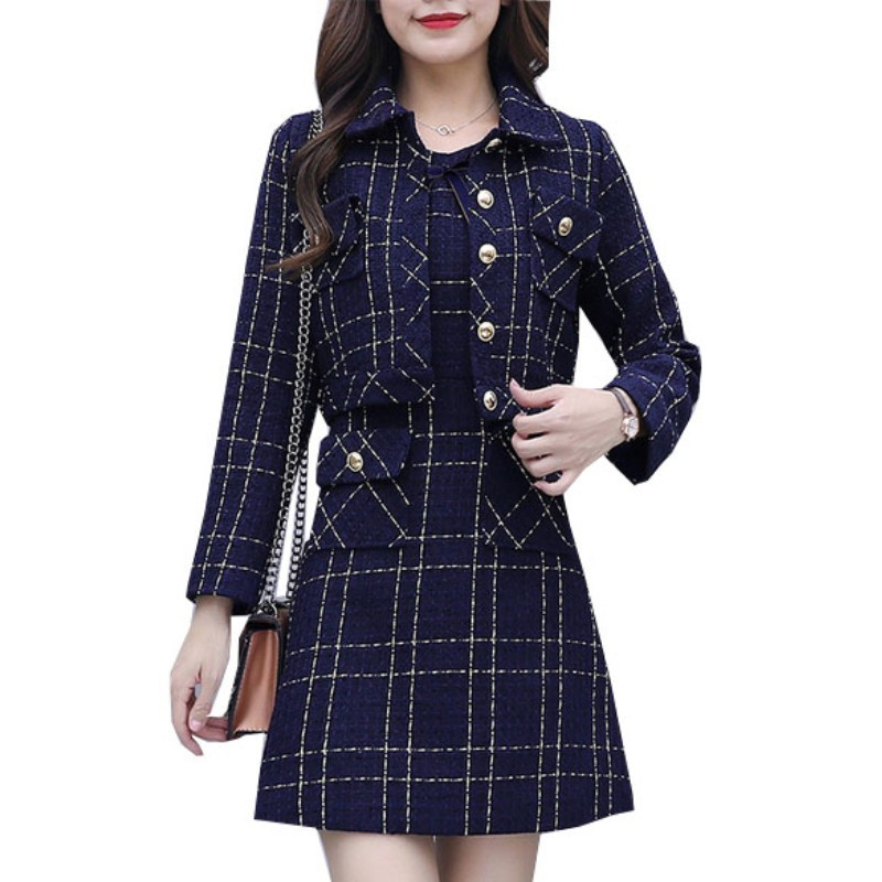 New Small Fragrance Tweed Suits 2 Piece Set Runway Women Long Sleeve Plaid Jacket Coat + Sleeveless Vest Dress Two Piece Set