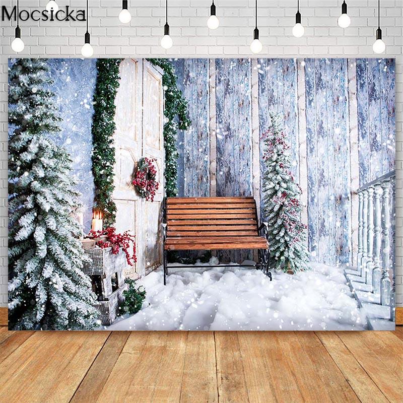 Рождественская елка лестница фон для фотосъемки деревянный пол