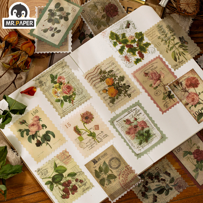 Mr.paper Retro Post Office Washi Stamp Plants Scrapbooking Travelling Write Notes  Japanese Sakura Down Deco Stationery Stickers