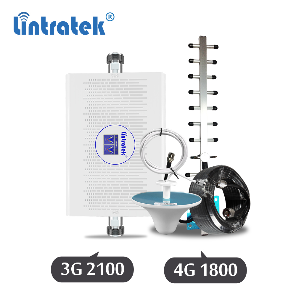 Lintratek 70dB 3G 4G 1800 2100mhz AGC Signal Repeater Cellphone GSM 1800mhz DCS LTE UMTS 3G 2100 Wcdma Amplifier Booster Set DK