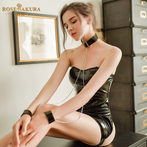 Image 5 - Robe Lingerie Sexy en cuir pour femmes, robe de soirée Semi transparente, sans manches, col licou, sans manches, robe de soirée, vêtements en boîte, Bdsm, Bondage