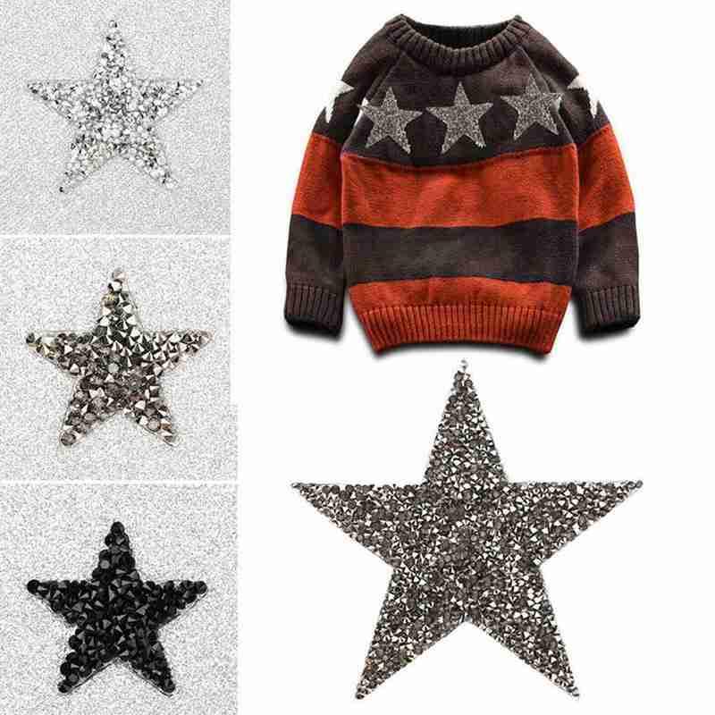 6cm Pentagram Starry Sky With Adhesive Clothes Patches Crystal Diy Applique Clothing Bag Apliques Vestidos Clothes Patch