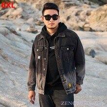Jacket Men Black Plus-Size Winter Men's Tide Tooling Lapel And Autumn Gradient 5XL 4XL
