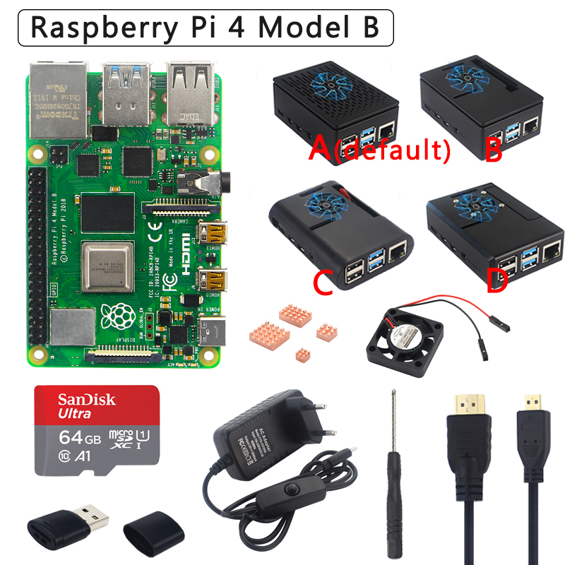 Original Raspberry Pi 4 Model B Kit + ABS Case + Power Supply + Fan + Heatsink +HDMI  Optional 64 32GB SD Card & Reader For Pi 4