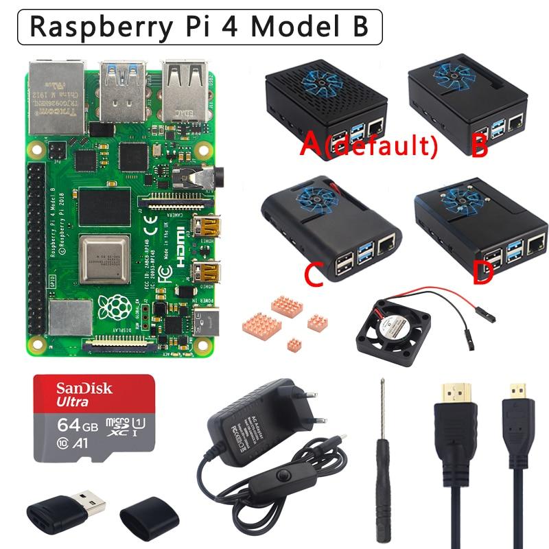 Original Raspberry Pi 4 Model B Kit + ABS Case + Power Supply + Fan + Heatsink +HDMI Optional 64 32GB SD Card & Reader for Pi 4(China)