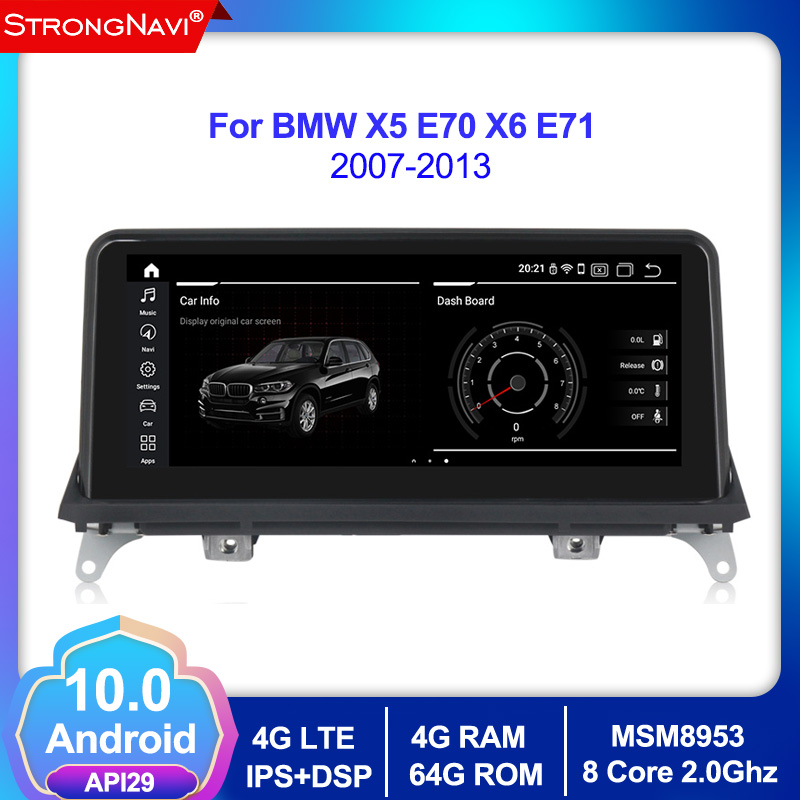 10.25 IPS screen 8 cores 4G+64G android 10.0 Car multimedia Player Navigation <font><b>GPS</b></font> radio <font><b>for</b></font> <font><b>BMW</b></font> X5 E70 <font><b>X6</b></font> E71 2007-2013 4G lte image