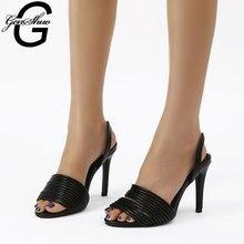 цена GENSHUO Sandals 2020 Summer Stilettos Shoes For Women Women's High Heels Open Toe Black White Party Wedding Shoes For Ladies онлайн в 2017 году