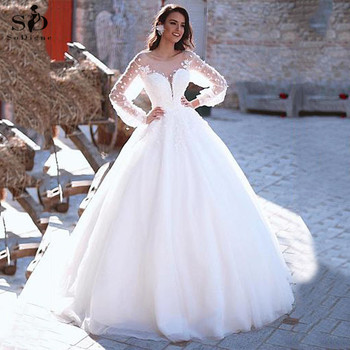 Ball Gown Wedding Dresses 2020 Sexy Backless Vintage Long Sleeves Lace Appliques Flower Dubai Formal Bridal Wedding Gowns ball gown wedding dresses 2020 sexy backless vintage long sleeves lace appliques flower dubai formal bridal wedding gowns