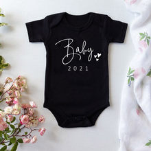 Bebê preto 2021 algodão onesie gravidez anúncio bodysuits do bebê gravidez revelar bodysuits da criança do bebê onesie
