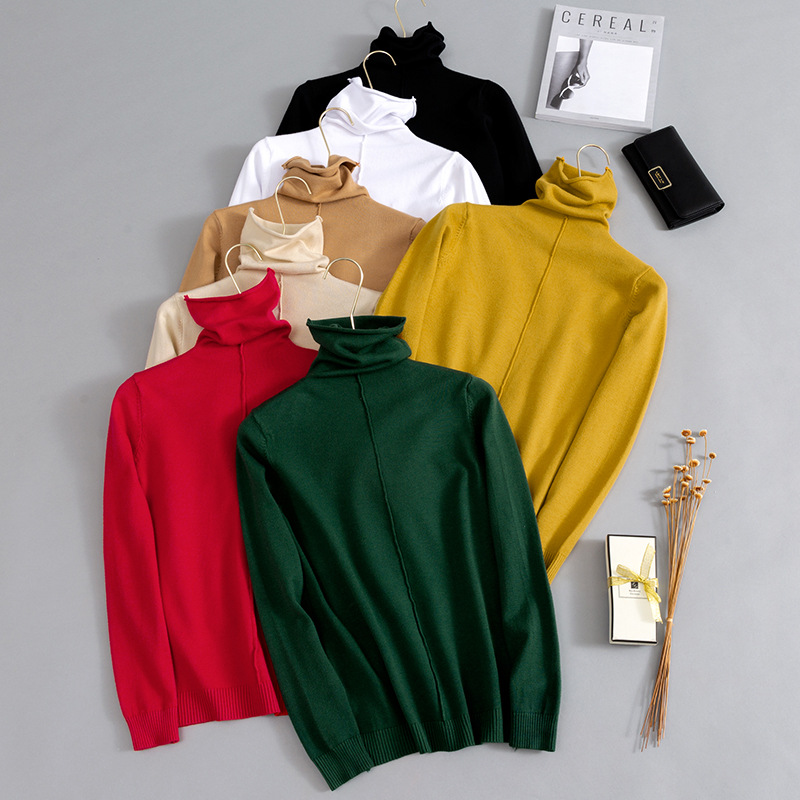 HLBCBG Pile Collar Women Turtleneck Sweater Autumn Winter Slim School Girl Pullover Sweaters Long Sleeve Flat Knit Jumper
