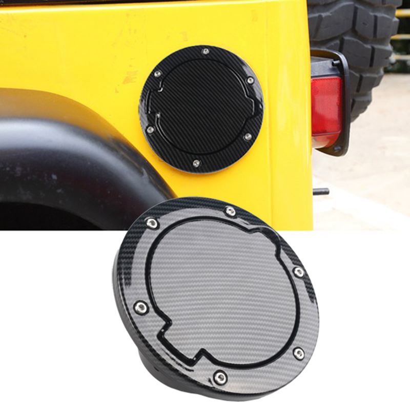 for Jeep Wrangler JK 07 17 Carbon Fiber Filler Door Cover Gas Tank Cap for 2/4 Door|Tank Covers| |  - title=