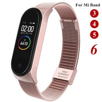 Strap For Xiaomi Mi Band 3 4 5 6 Wrist Metal Bracelet Screwless Stainless Steel MIband for Mi Band 6 4 3 5 Strap Wristbands 1